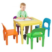 SEGMART Toddler Table and Chair Set of 5, Solid Picnic Primary Collection Kids Picnic Table & 4 Chair Sets, Art Play-Room Toddler Activity Chair for Toddlers Lego, Reading, Multiple Colors, S9191