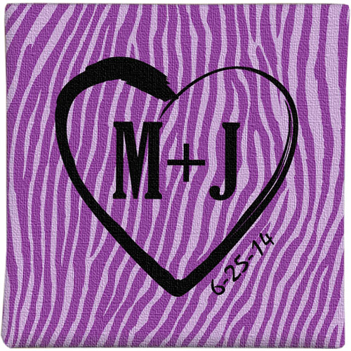 "Personalized 11"" x 11"" Zebra Love Graffiti Canvas, Available in 4 Colors"