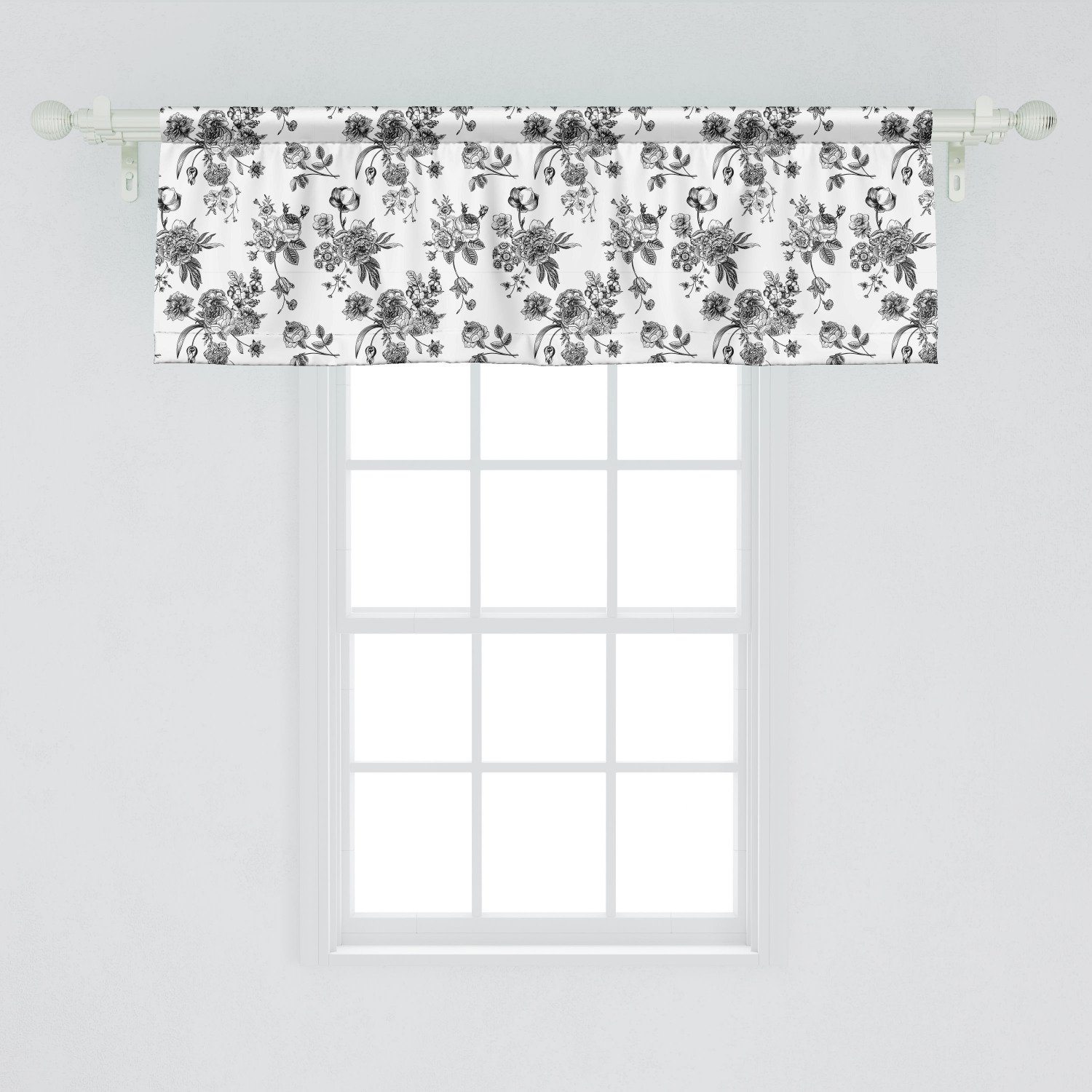 Ambesonne Black and White Window Valance, Vintage Floral Pattern Victorian  Classic Royal Inspired New Modern Art, Curtain Valance for Kitchen Bedroom  ...