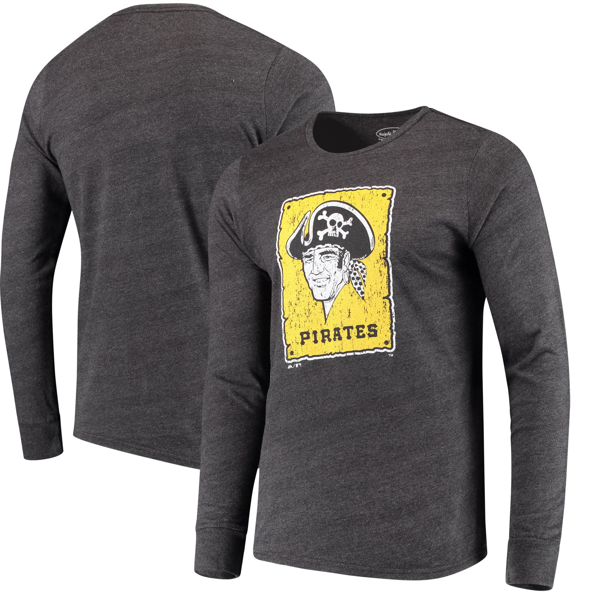 Men's Majestic Threads Heathered Black Pittsburgh Pirates Tri-Blend Long Sleeve T-Shirt