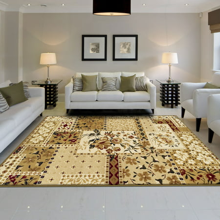 Superior Beautiful Floral Patchwork Design, 10mm Pile with Jute Backing, Affordable Contemporary Flower Patch Collection Area Rug, Beige ()