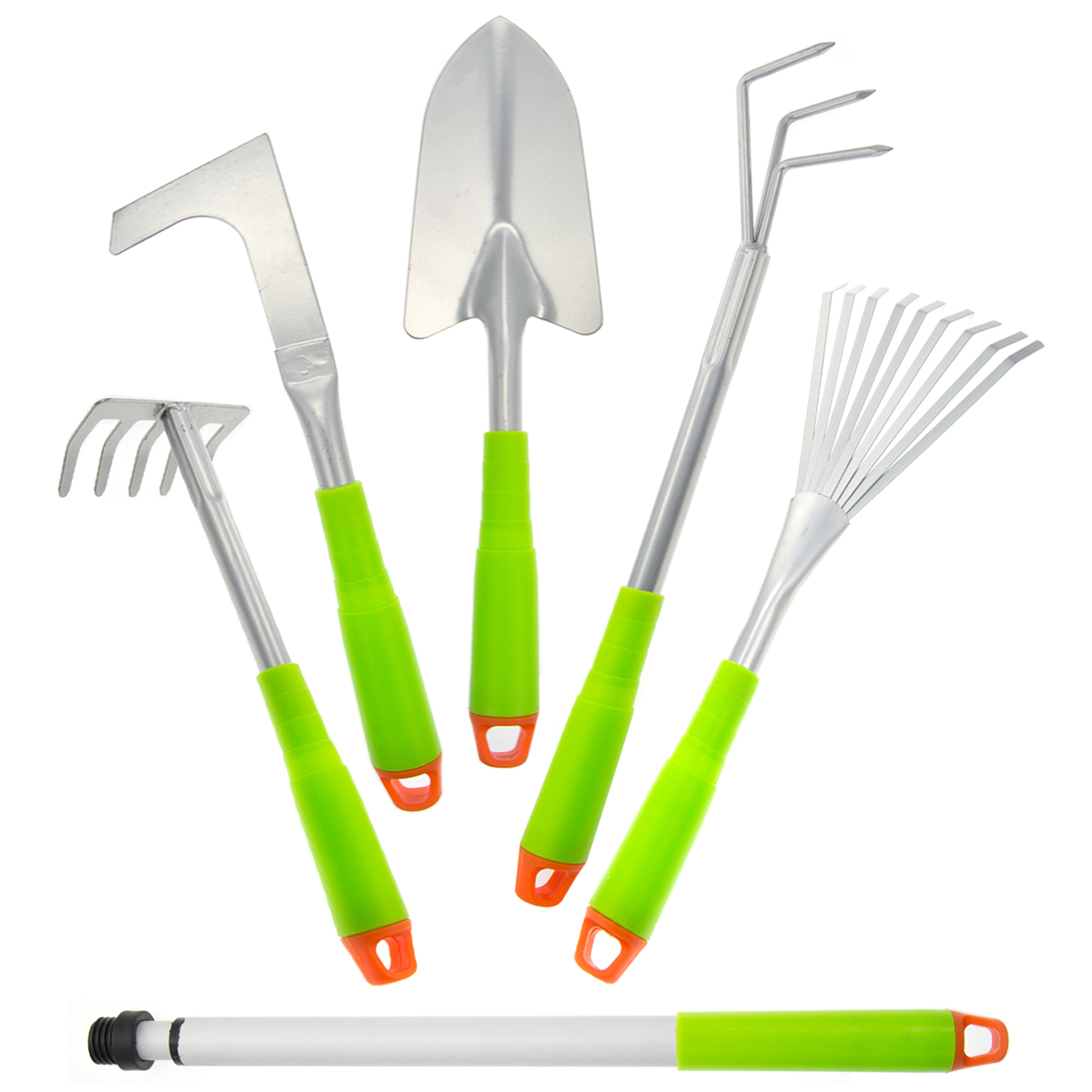 5pc Hand Gardening Tools Set Kit Telescopic Extender Cultivator Weeder Rakes Trowel Home... by