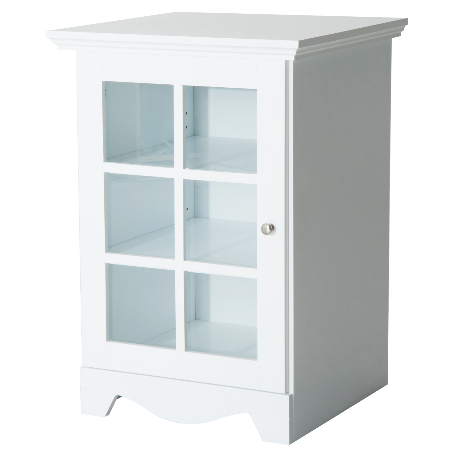 HomCom Wooden Accent End Table w  Glass Door Storage White by Aosom