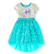 Girls' Glitter Graphic Short Sleeve Mesh Dress With Foil Flower Print
