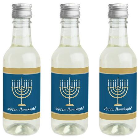 Happy Hanukkah - Mini Wine and Champagne Bottle Label Stickers - Chanukah Party Favor Gift for Women and Men - Set of 16 (Hanukkah Parties)
