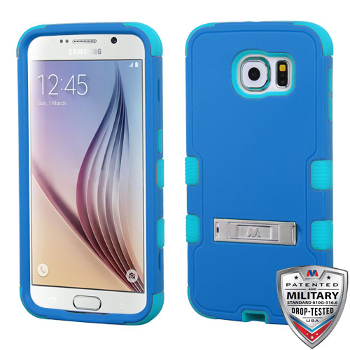 Samsung Galaxy S6 Case - Wydan TUFF Hybrid Hard Shockproof Case Kickstand Protective Heavy Duty Impact Skin Cover Blue on Teal