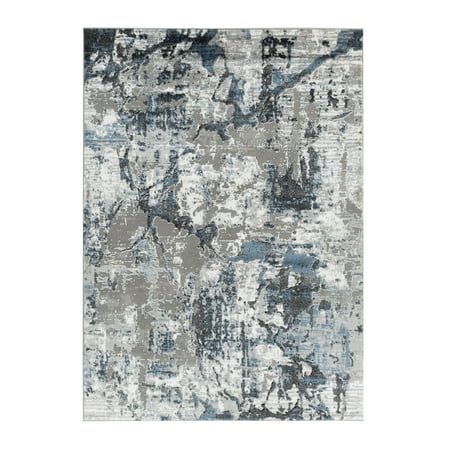 Allure Collection - Blue, Gray Abstract Marble Soft Area Rug