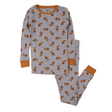 Leveret Kids Pajamas Bison Overall Print Boys & Girls 2 Piece pjs Set 100% Cotton Size 8 Years (Superhero Pjs For Kids)