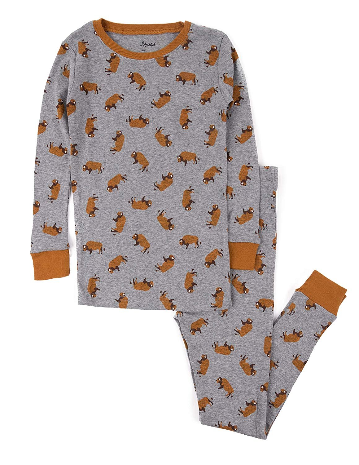 Leveret Kids Pajamas Bison Overall Print Boys & Girls 2 Piece pjs Set 100% Cotton Size 8 Years