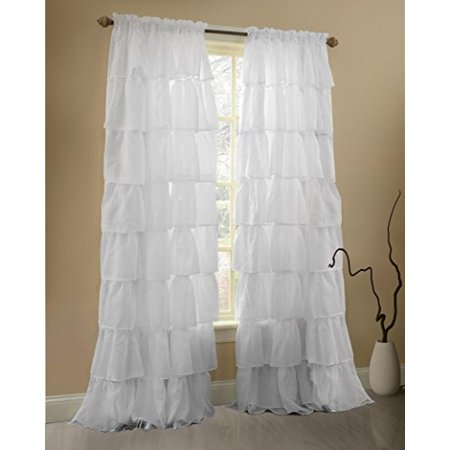 Gee Di Moda Ruffle Curtains Rod Pocket Window Curtains Panels White   60 X 84 Inch