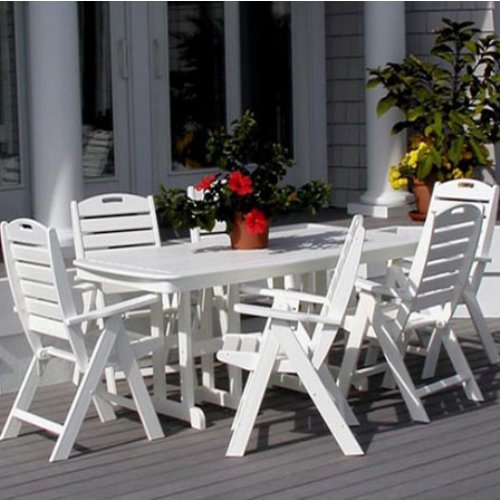 POLYWOOD® Cape Cod Nautical Recycled Plastic Dining Set - Seats up to 8