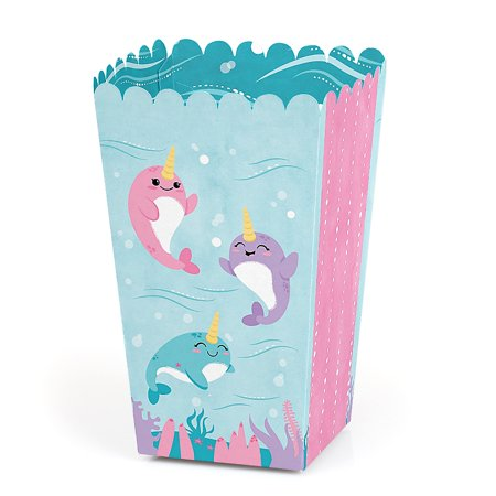 Narwhal Girl - Under The Sea Baby Shower or Birthday Party Favor Popcorn Treat Boxes - Set of 12  - Under The Sea Quinceanera Ideas