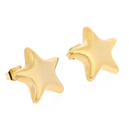Round Star Stud (Edforce Womens 18k Gold Plated Classic Rounded Star Stud Earrings,)