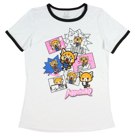 Aggretsuko T-Shirt For Junior's Pop Anime Character Ringer Top