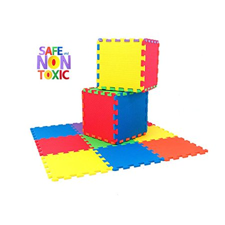 NON-TOXIC Extra Thick 9 Piece Children Play & Exercise Mat - Comfortable Cushiony Foam Floor Puzzle Mat, 6 Vibrant Colors for Kids & Toddlers - image 1 of 1