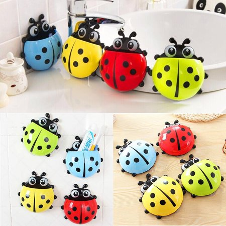 Cute Cartoon Ladybug Kids Wall Suction Cup Mount Toothbrush Holder Pencil and Pen Container Box Travel Organizer Plastic Pocket Storage Organizer