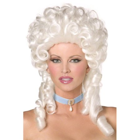 BAROQUE WIG white marie antoinette curls womens victorian blonde costume hair (Blonde Hair Costumes)