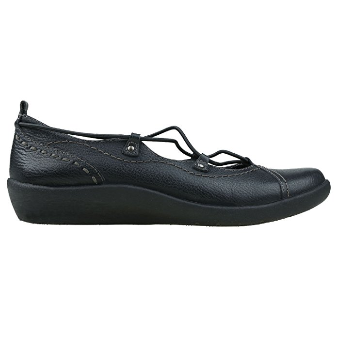 Earth Origins LONDON Womens Black Leather Bungee Lace Slip On Shoes