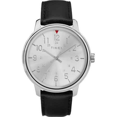 Timex Mens Classics 43mm Black/Silver Leather Strap Watch