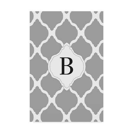Trademark Fine Art 'B Gray Monogram' Canvas Art by Art Licensing Studio - Monogram Canvas