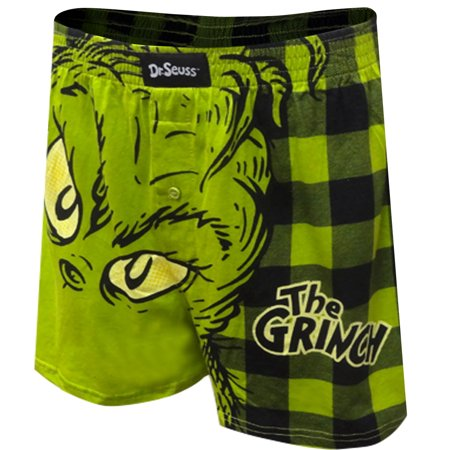 Preppy Green Plaid Shorts (Dr. Seuss The Grinch Plaid Christmas Boxer)