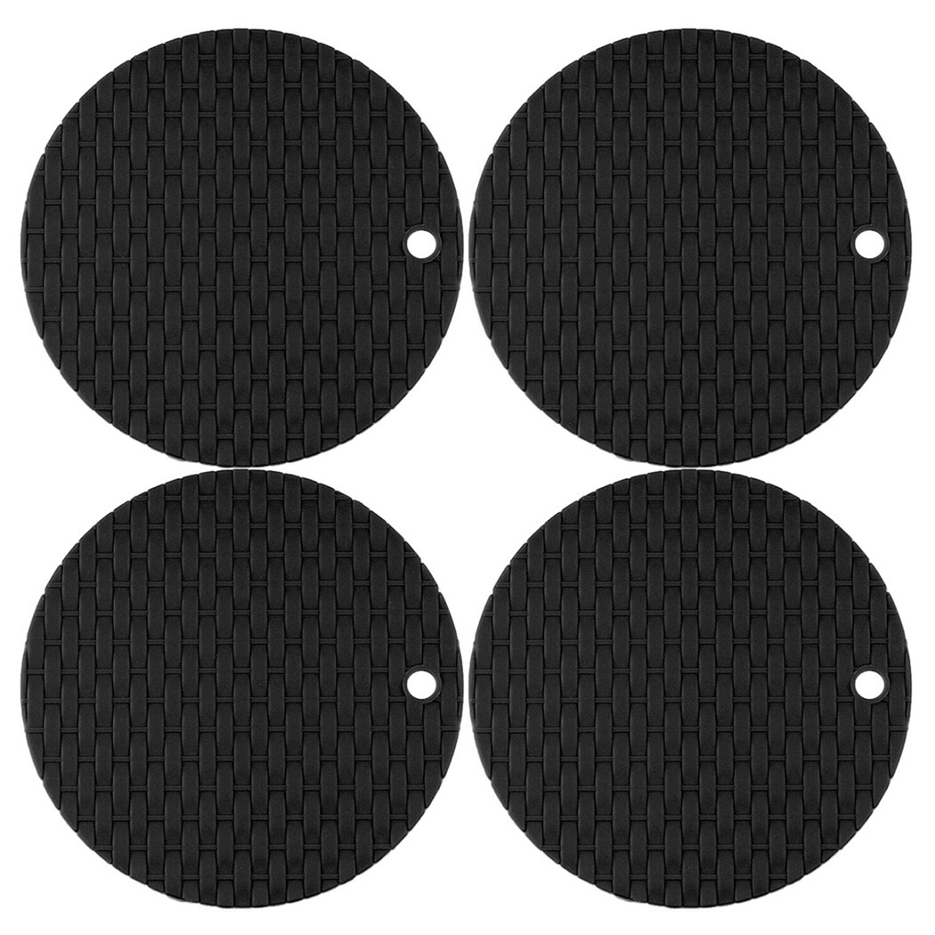 4Pcs Silicone Coaster set, Outgeek Insulated Round Knitted Pattern Heat Resistant Non Slip Hot Pads Trivet Mats for Home