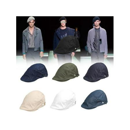 Solid Cotton Gatsby Cap Men Ivy Hat Golf Driving Summer Sun Flat Cabbie Newsboy (Summer Golf Hat)