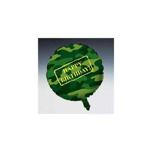 Camouflage Army Party Supplies 18 inch Mylar Happy Birthday Balloon.