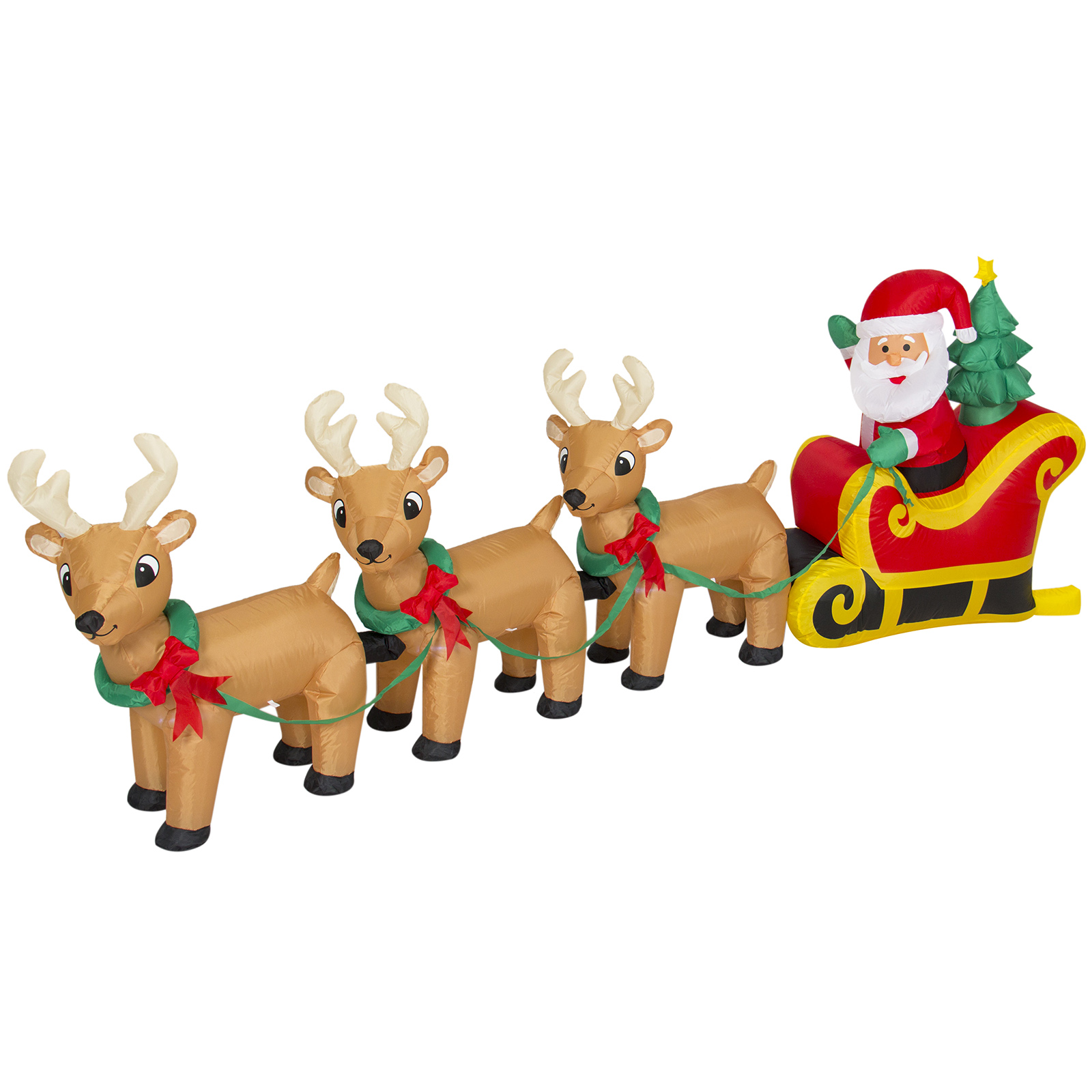 Best Choice Products 9ft Pre-Lit Inflatable Christmas Santa Claus Sleigh and Reindeer Decor w/ Lights, Stakes, Electric Fan Blower - Multicolor