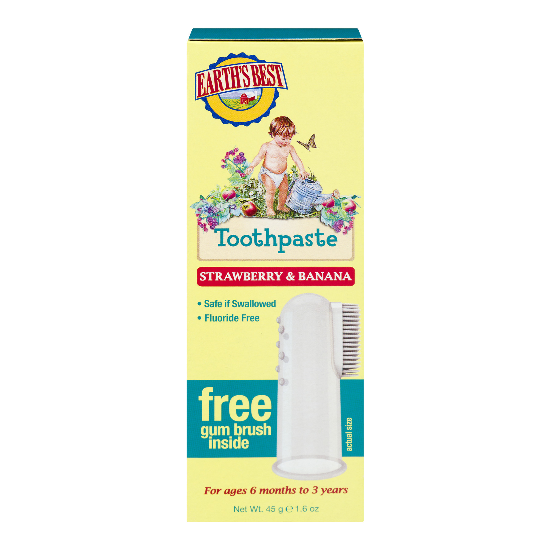 Earth's Best Toothpaste Strawberry & Banana, 1.6 OZ