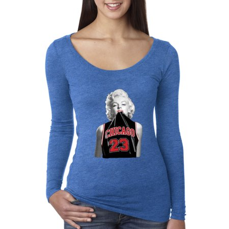 Trendy USA 445 - Women's Long Sleeve T-Shirt Marilyn Monroe Chicago 23 Jordan Jersey XL Royal - Blue And Grey Jordans