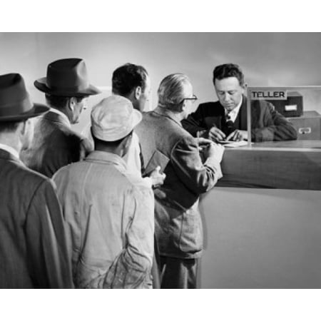 Group Of People Standing In Line At A Bank Counter Canvas Art     18 X 24