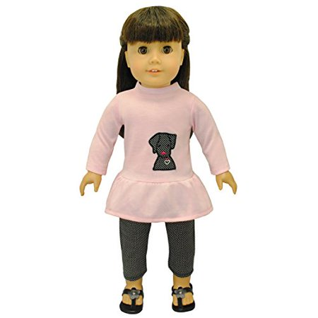 Dolls Clothes - Pink Shirt with Embroidered Detail and Black Pants Outfit Fits American Girl Doll and 18 inch Dolls - image 2 of 4