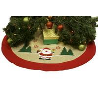 Burlap Christmas Tree Skirt  36 Xmas Tree Skirt - Happy Santa Claus