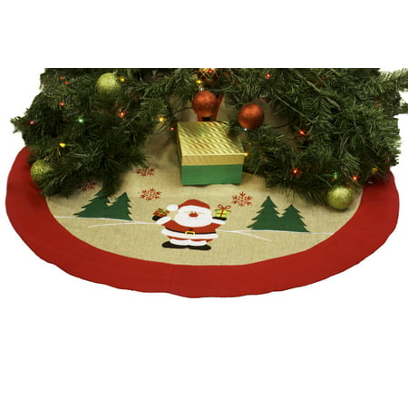 "Burlap Christmas Tree Skirt – 36"" Xmas Tree Skirt - Happy Santa Claus"
