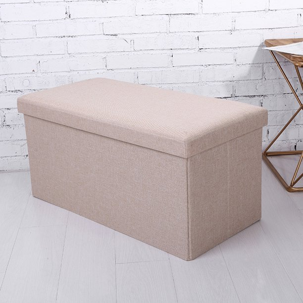 30 inch Collapsible Storage Ottoman Bench Seat Stool Box Footrest