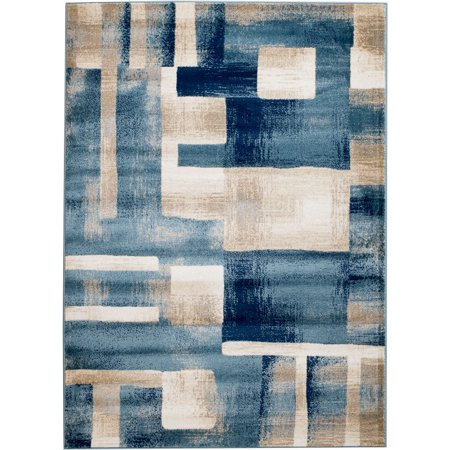 Abstract Geometric Rug (Madison Collection - 4x5 Abstract Cream/Blue Geometric Area Rug (Multiple Sizes) Soft Pile )