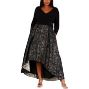 Xscape Womens Plus Embroidered Long Sleeves Evening Dress