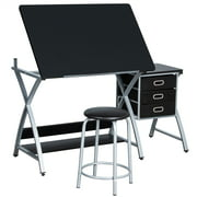 Yaheetech Adjustable Drafting Table Drawing Station Desk Board Storage Drawers Art Design Architect w/Stool