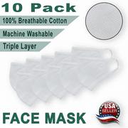 10 Pack Face Mask Triple Layer 100% Cotton,Washable, Reusable, Breathable, Unisex Mask *US SELLER*