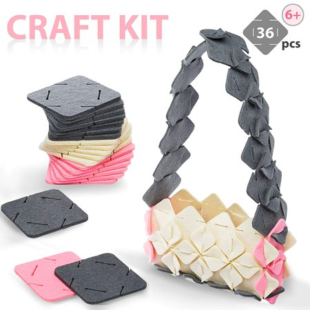 Arts And Crafts for Girls / Teens / Kids / Adults - 10 DIY Project Ideas, Craft Kit, Stem Toys / Making Kit Felt Squares / Crafting Set / Birthday Creative ages 6 - 14