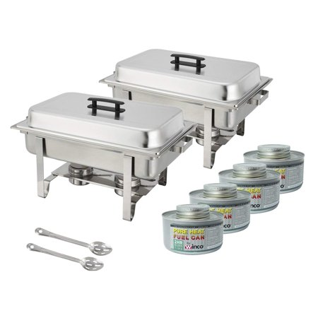 Winware Set Of 2 Stainless Steel Full Size Chafer 8 Quart Chafing Dish With 4 Fuel And 15 Inch Slotted Serving Spoon