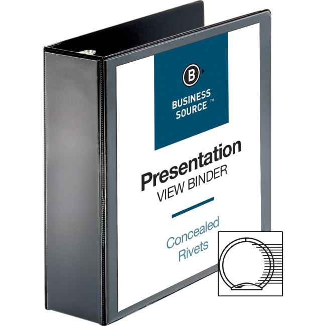 "Business Source Standard View Binders - 3"" Binder Capacity - Letter - 8 1/2"" x 11"" Sheet Size - 25 Sheet Capacity - Ring Fastener - 1 Internal Pocket(s) - Black - 1.50 lb - Recycled - 1 Each"