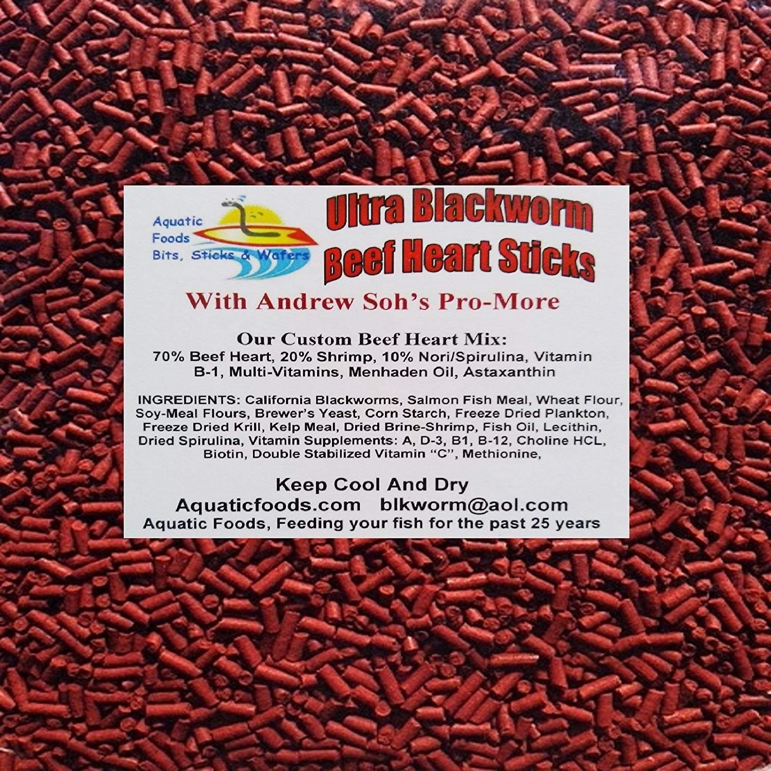 Aquatic Foods PRO-MORE Enhanced Blackworm / Beef Heart Mix Sinking Sticks for increasing Size & Girth in ALL Tropical Fish - 1/8-lb