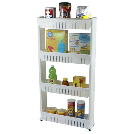 Out Racks - Slim Storage Cabinet Organizer 4 Shelf Rolling Pull Out Cart Rack Tower with Wheels