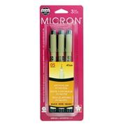 Sakura Pigma Micron Fineliner Pens, Archival Black, 05 Tip Size, 3 Pk