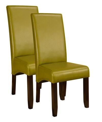 Green Faux Leather Parsons Kitchen Dinette Dining Side Ch...