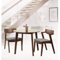 SK New Interiors Dining Kitchen Round Table and 2 Tracy Armchairs (Set of 3) Solid Wood Medium Brown Finish