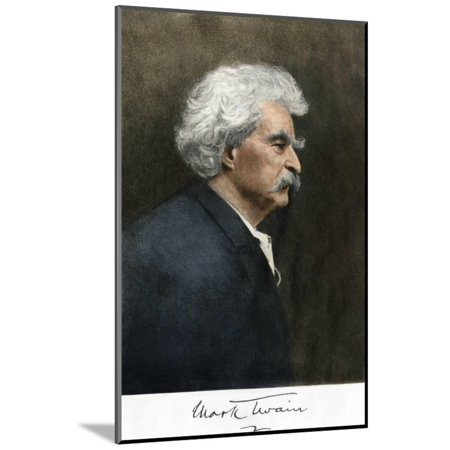 Portrait of Samuel Clemens, with His Mark Twain Autograph Wood Mounted Print Wall