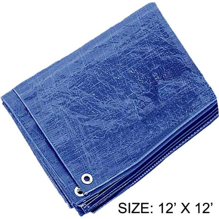 12 Feet x 12 Feet Multipurpose Blue 3 Mil PE Tarp - Waterproof, 70 GSM (POLY PRO: